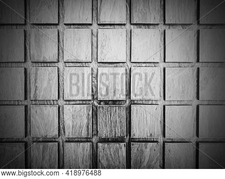 Concept Of Making Wood Texture In Black And White For The Background. Square Plank Walls, Spaced And
