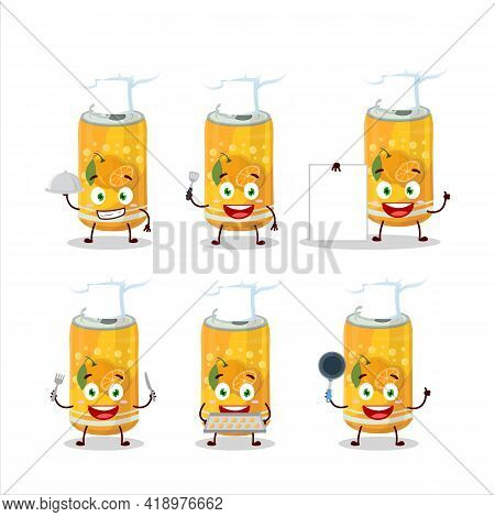 Cartoon Character Of Orange Soda Can With Various Chef Emoticons