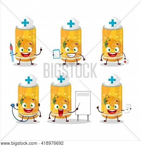 Doctor Profession Emoticon With Orange Soda Can Cartoon Character
