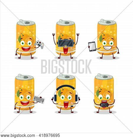 Orange Soda Can Cartoon Character Are Playing Games With Various Cute Emoticons