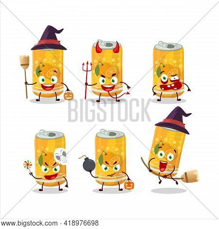 Halloween Expression Emoticons With Cartoon Character Of Orange Soda Can