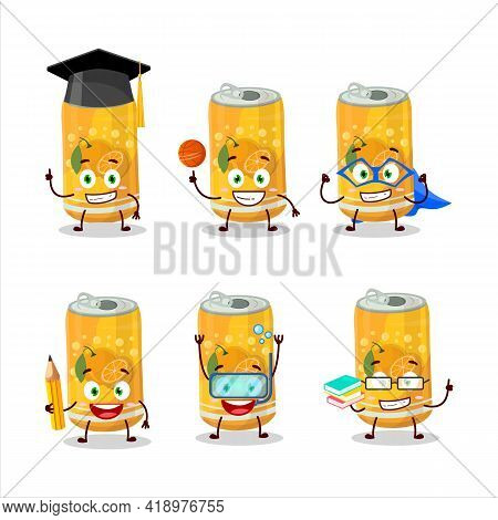School Student Of Orange Soda Can Cartoon Character With Various Expressions