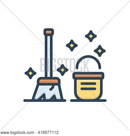 Color Illustration Icon For Clean Neat Distinguishable Brooms Bucket