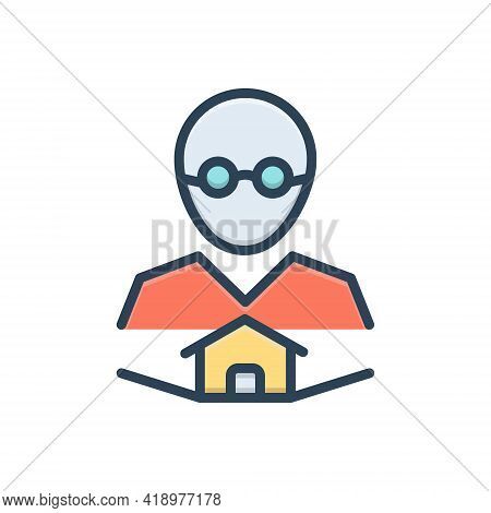 Color Illustration Icon For Owner Boss Master Proprietor Manager Landlord