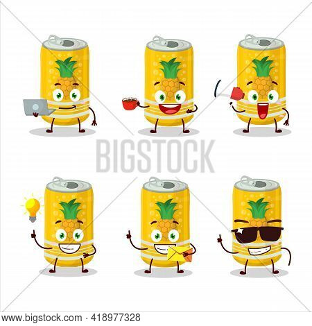 Pineapple Soda Can Cartoon Character With Various Types Of Business Emoticons