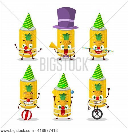 Cartoon Character Of Pineapple Soda Can With Various Circus Shows