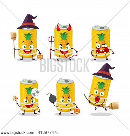 Halloween Expression Emoticons With Cartoon Character Of Pineapple Soda Can