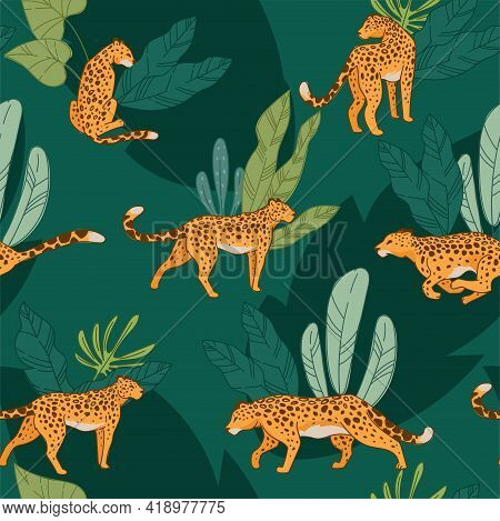 Leopard Animal, Cheetah With Spot Seamless Pattern