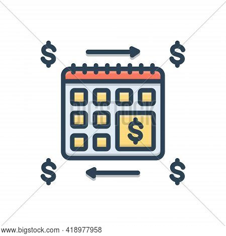 Color Illustration Icon For Annuities Annuity  Financial Revenue Currency Exchange Calender Yearly