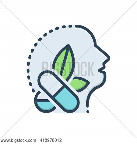 Color Illustration Icon For Antiepileptic Drug Medicine Herb Remedy Healing