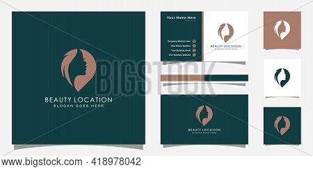 Woman Place Logo Inspiration . Feminine Pin Logo Design Template . Woman Finder Logo And Business Ca