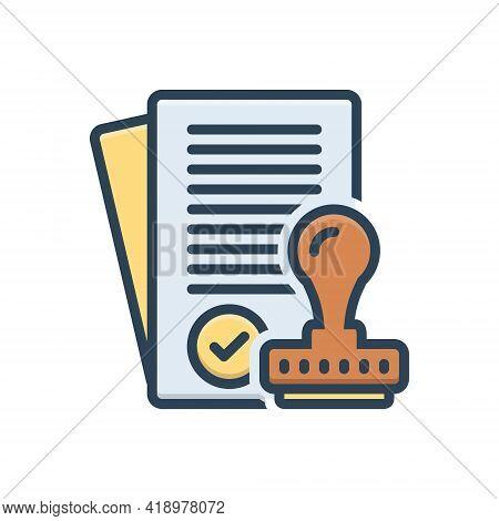 Color Illustration Icon For Assumptions Approve Satisfied Allow Permit Assent Imprimatur