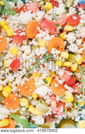 Fresh Salad With Vegetables And Couscous Groats. Light Meal Containing Healthy Natural Vitamins And