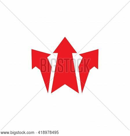 Three Red Arrows Point Three-way Direction. Right, Left, Forward Pointer. Expand Arrows Icon. Outwar