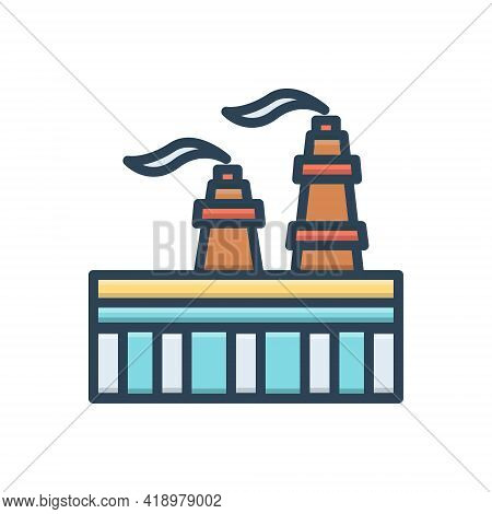 Color Illustration Icon For Gas Flame Fuel  Refinery Industry Petrochemical
