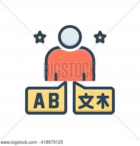 Color Illustration Icon For Fluent  Foreign Language Translate Translator Interpreter Dragoman
