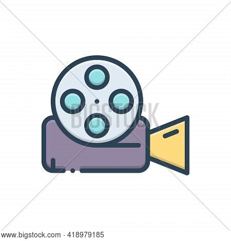 Color Illustration Icon For Video-reel Video Reel  Film  Entertainment  Videocamera Technology