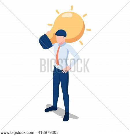 Flat 3d Isometric Businessman Carrying Light Bulb Of Idea On His Shoulder. Business Idea And Solutio