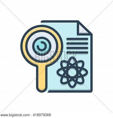 Color Illustration Icon For Research Investigation Checkout Quest Disquisition