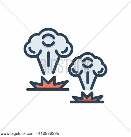 Color Illustration Icon For War Battle Fight Fighting Bomb Blast Attack