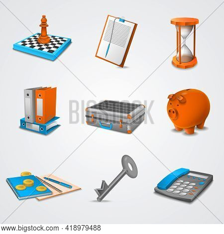 Business Realistic Icons Set With 3d Chessboard Folders Piggy Bank Isolated Vector Illustration