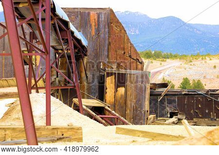 Vintage Mining Site On A Mountainous Slope Taken In The Ghost Town Of Russell Gulch, Co In The Rocky