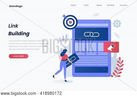 Link Building Landing Page Concept. Illustration For Websites, Landing Pages, Mobile Applications, P
