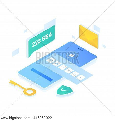Authentication Code Illustration Isometric Style. Illustration For Websites, Landing Pages, Mobile A