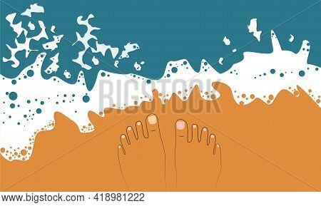 Vector Legs In The Style Of A Line On The Seashore At The Water's Edge. Top View. Summer Vacation