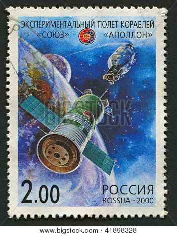 RUSSIA - CIRCA 2000: A stamp printed in Russia shows image of the Apollo-Soyuz Test Project (1975), circa 2000.