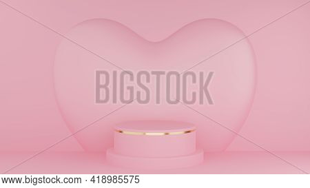 Valentine's Day Concept. Circle Podium Pink Pastel Color And Gold Edge With Pink Heart. 3D Rendering