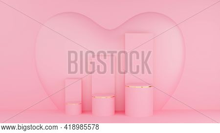 Valentine's Day Concept. Circle Podium Pink Pastel Color And Gold Edge With Three Rank And Graph And