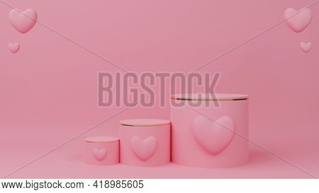 Valentine's Day Concept. Circle Podium Pink Pastel Color With Gold Edge, Three Rank And Pink Heart B
