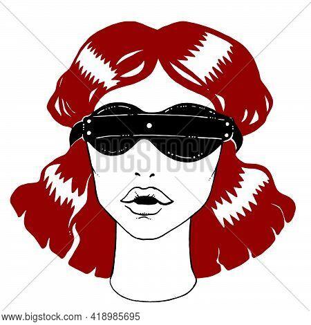 Attractive Elegant Vintage Bdsm Girl In Blindfold.