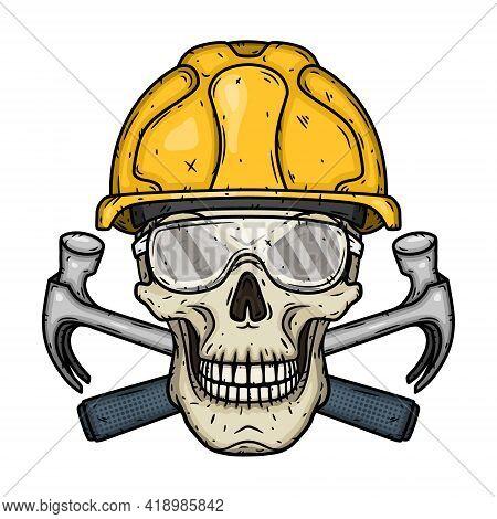 Skull Builder. Skull In Yellow Helmet With Two Crossed Hammers. Workers Skull.
