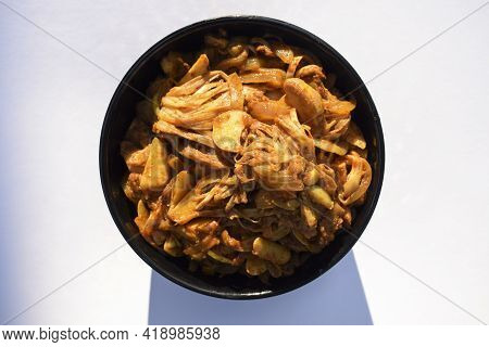 Jackfruit Stir Fry Curry. Indian Delicious Side Dish. Authentic Home Cooked Asian Vegetable Cooked