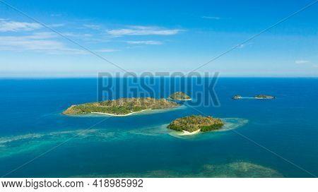 Aerial View Of Seascape With Beautiful Beach And Tropical Islands. Sallangan Islands, Simoadang Isla