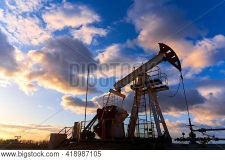 Petroleum Concept. Oil Pump Rig. Oil And Gas Production. Oilfield Site. Global Crisis. War On Oil Pr