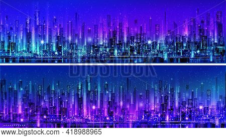 Vector Night Panoramic Cityscape. City Night Light View Skyline At Twilight Time