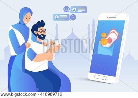 Man Transferring Eid Mubarak Bonuses Through Online Banking Application During Covid-19 Pandemic. Ei