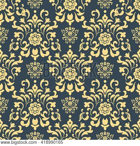 Damask Seamless Pattern. Repetition Background, Decor Backdrop, Fabric Vector Illustration