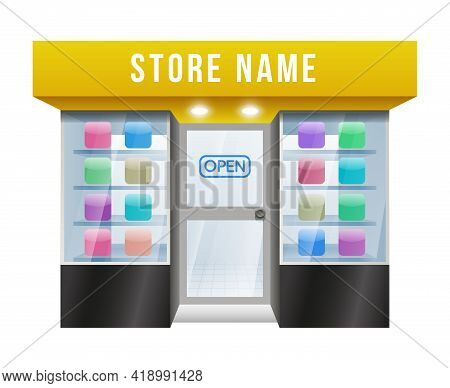 Cartooned Vector Colored Application Store With Editable Store Name On White Background.