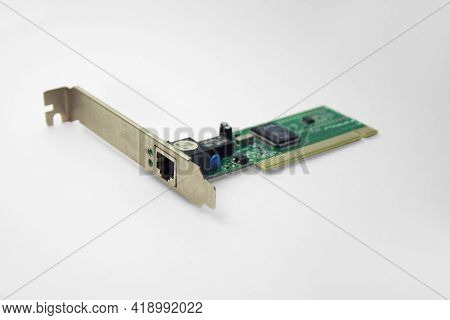 Internal Ethernet Network Adapter For Pci Slot Of Motherboard. With Clipping Path