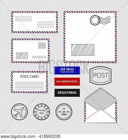 Airmail Envelopes, Postcard And Badges Set. Post Stamp On Letter, Vector Illustration