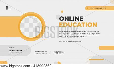Website Banner Template For Online Education, Online Class Program, Courses And Other E-learning Wit