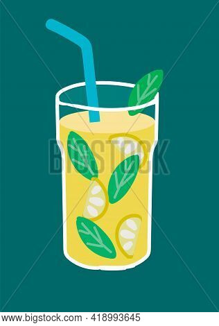 Cocktail Drink With Lemon And Mint Leaves