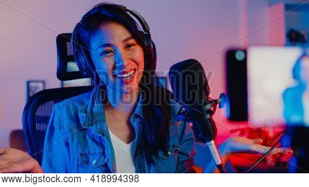 Happy Asia Girl Blogger Music Influencer Use Smartphone Broadcast Recording Wear Headphone Online Li