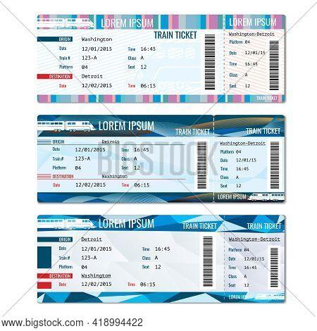 Train Tickets Vector Set. Railway Pass Card, Journey Passenger Illustration