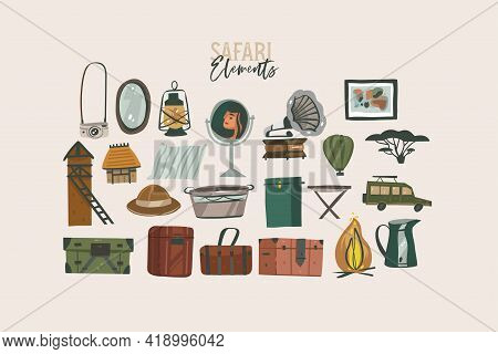 Hand Drawn Vector Stock Abstract Flat Graphic Illustration African Safari Collection Set, With Trave