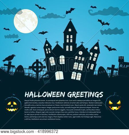 Halloween Greetings Holiday Poster With  Gothic Castle And Gravestones Silhouettes At Moon Sky Backg